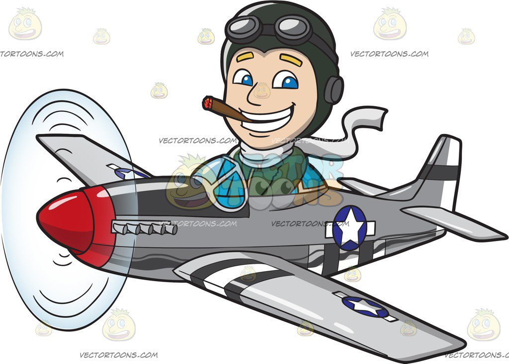 A Pilot Flying A Bomber Plane – Clipart Cartoons By ...