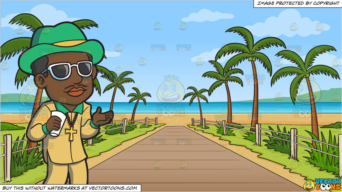 A Pimp Chilling Out and Pathway To A Tropical Beach Background