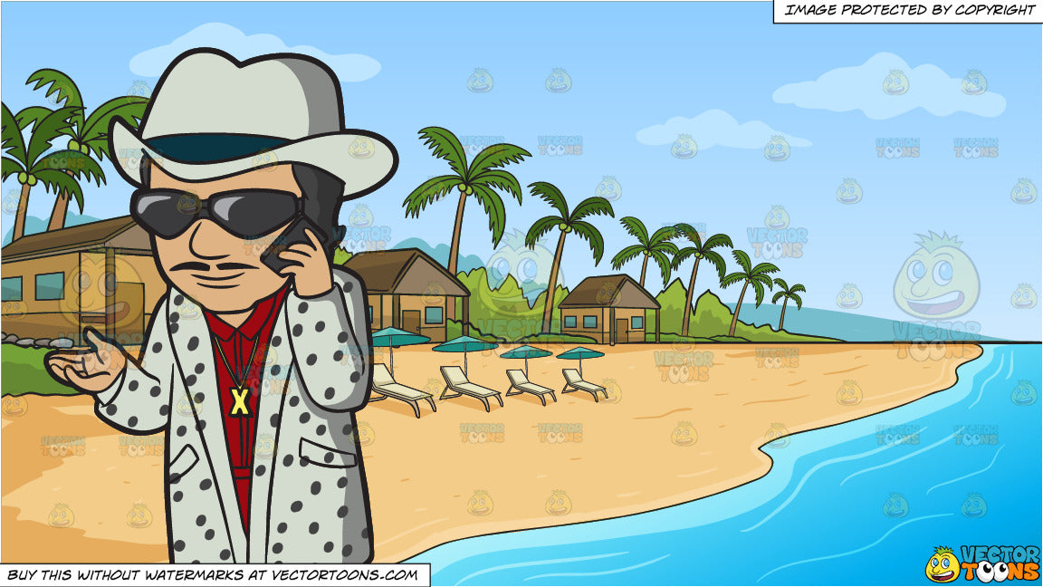 A Pimp On The Phone and A Simple Beach Front Resort Background