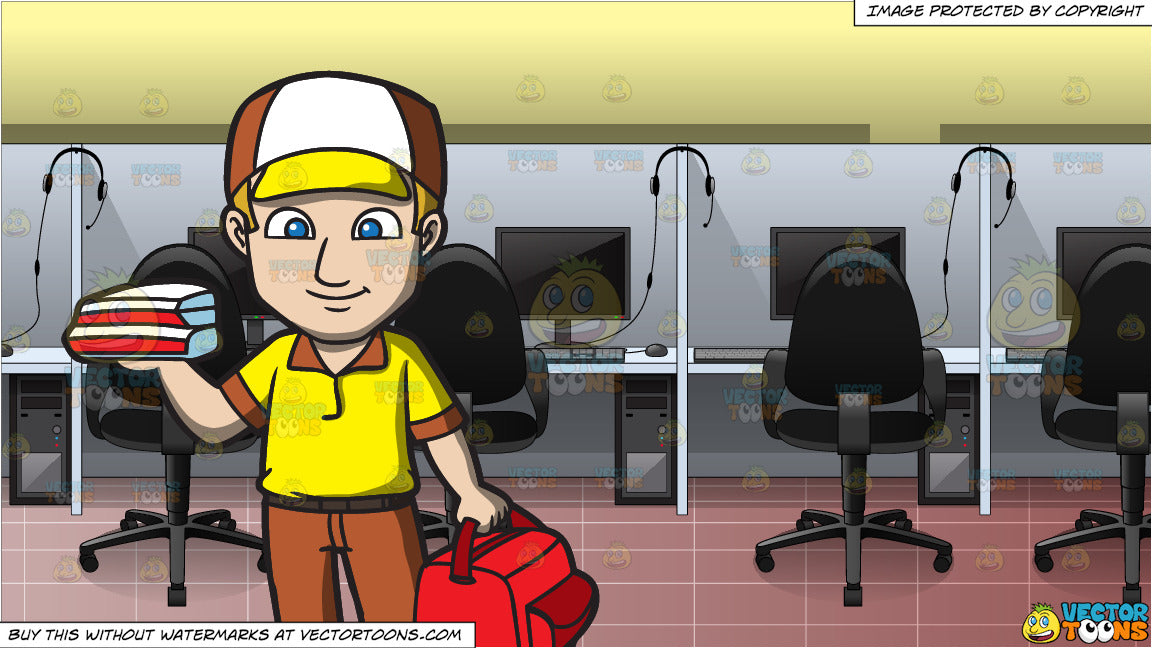 A Pizza Delivery Guy And Inside A Call Center Clipart Cartoons By Vectortoons