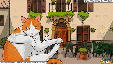 A Playful Domestic Cat and European Village Cafe Background