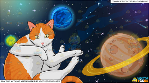 A Playful Domestic Cat and Planets In Outer Space Background