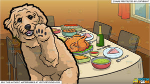 A Playful Golden Doodle Dog and A Table Set For Thanksgiving Background