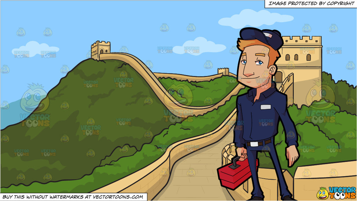A Plumber Carrying A Toolbox and The Great Wall Of China Background