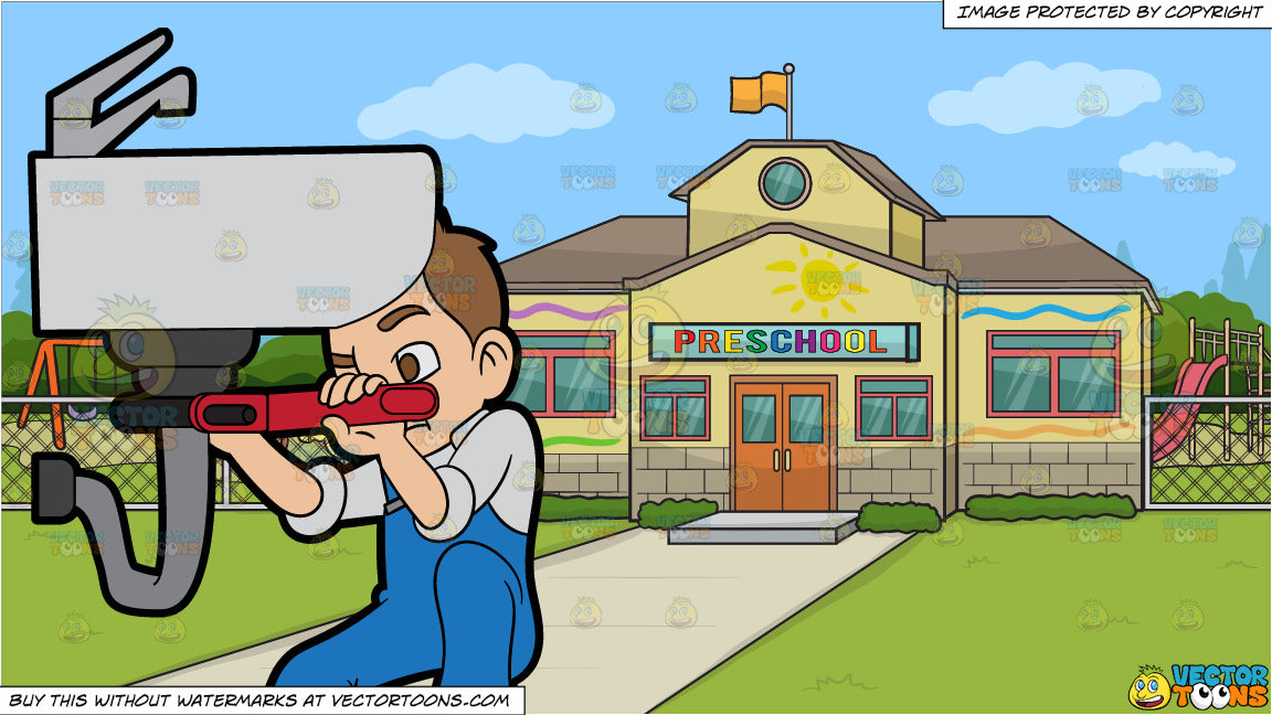 A Plumber Fixing A Bathroom Pipe And Outside A Pre School Background