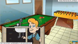 A Plumber Fixing A Kitchen Sink and A Gaming Room With Pool Table And  Foosball