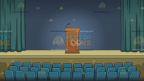 A Podium On A Stage In An Auditorium Background
