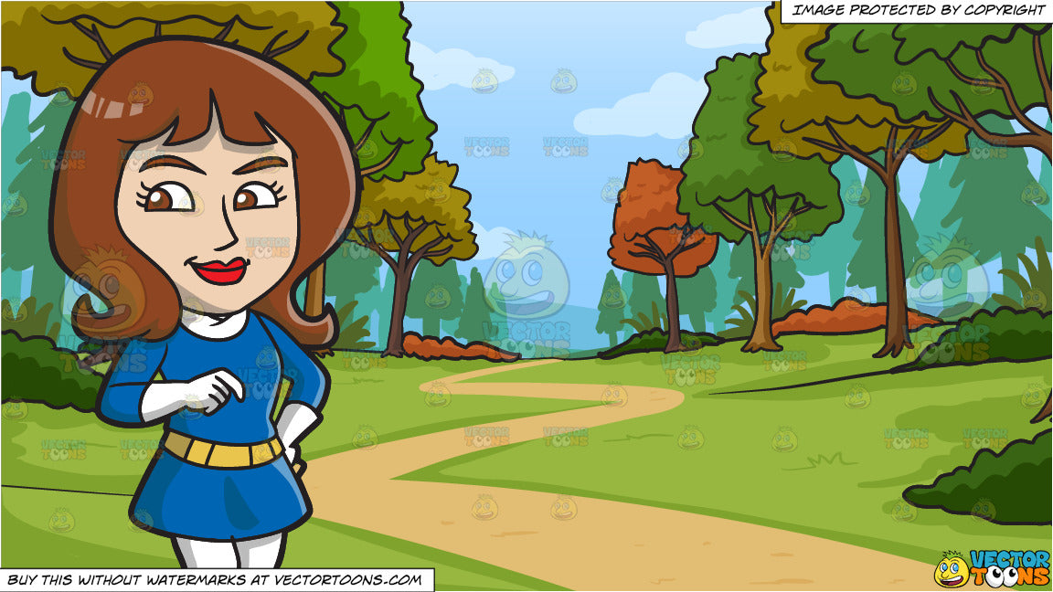 A Pretty Mod Woman And Path Leading To The Woods During Fall Background