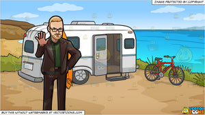 A Professional Man Signaling Someone To Stop and A Camper Home Overlooking The Sea