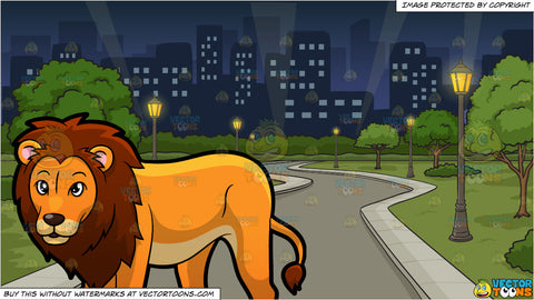 A Proud Looking Male Lion and A Park In The Middle Of The City At Night Background