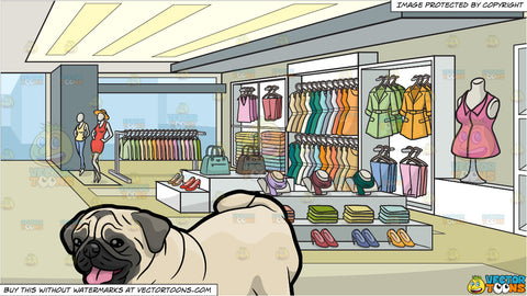 A Pug Stretching On The Floor and A Clothing Store For Women Background