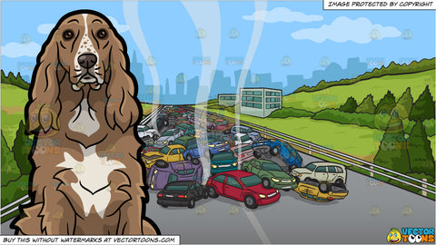 A Quiet Cocker Spaniel and Multiple Car Collision On A Highway Background