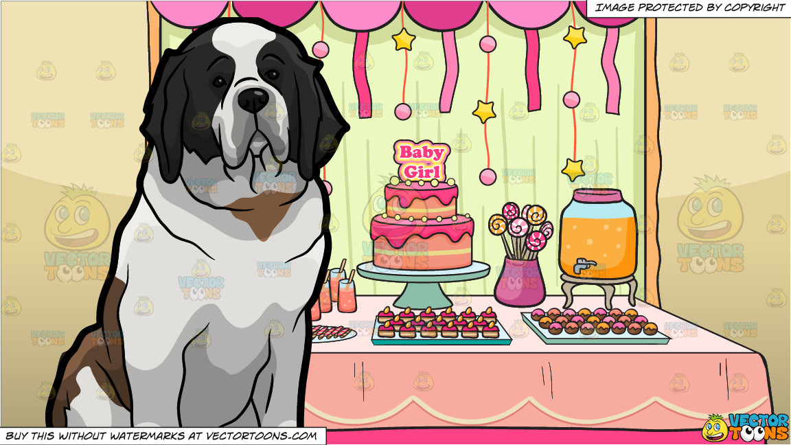 A Quiet St Bernard Dog And A Baby Shower For A Girl