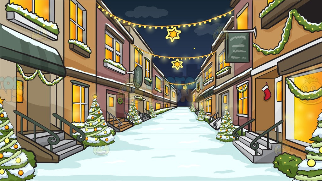 A Quiet Street With Quaint Stores Decorated For The Christmas Season Background