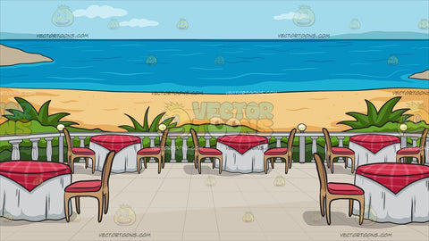 A Restaurant Patio Overlooking The Ocean Background