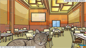 A Resting Striped Cat and A Restaurant Dining Room Background