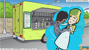 A Reverend Submerging A Woman Into A Body Of Water During A Baptismal Right  and A Parked Food Truck Background