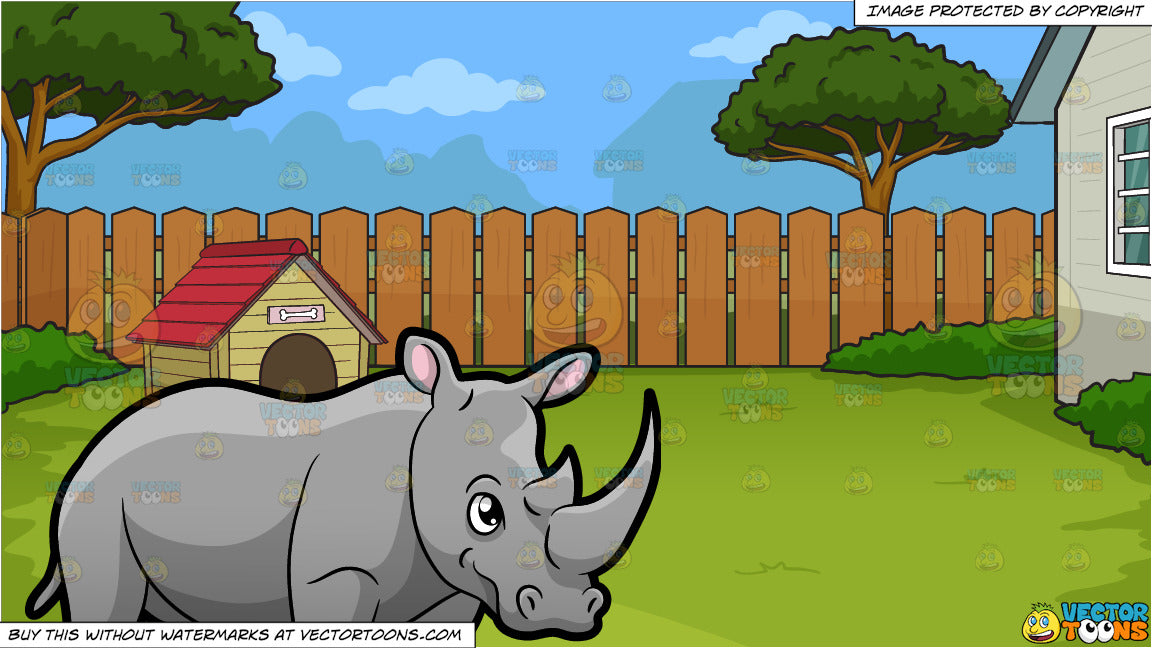 A Rhinoceros Showing Off Its Big Horn and A Dog House In The Backyard  Background