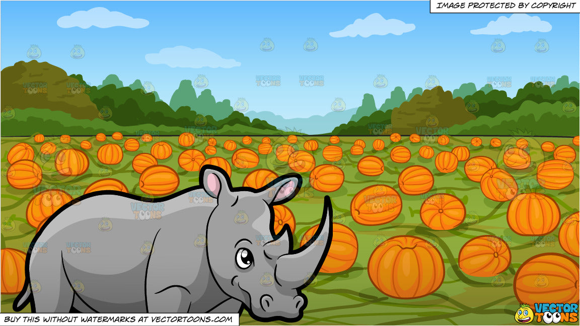 A Rhinoceros Showing Off Its Big Horn and A Pumpkin Patch Background