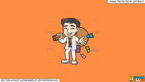 Cartoon clipart: a rich asian man holding a bulging sack of money on a solid mango orange ff8c42 background