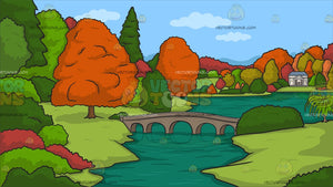 A River During Autumn Background