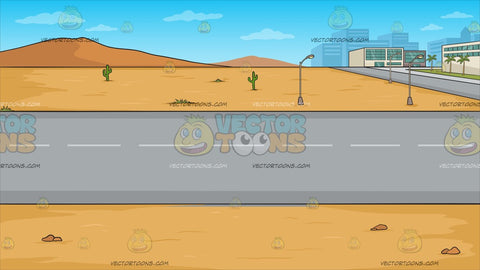 A Road Running Through A Desert Town Background