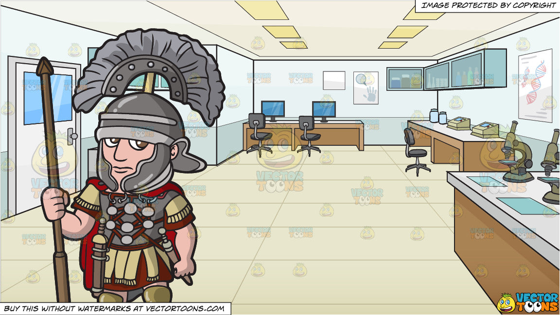 A Roman Centurion On Guard And A Crime Lab Background