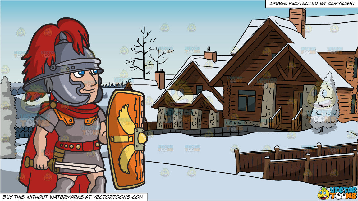 A Roman Centurion With His Shield And Alpine Ski Cottages