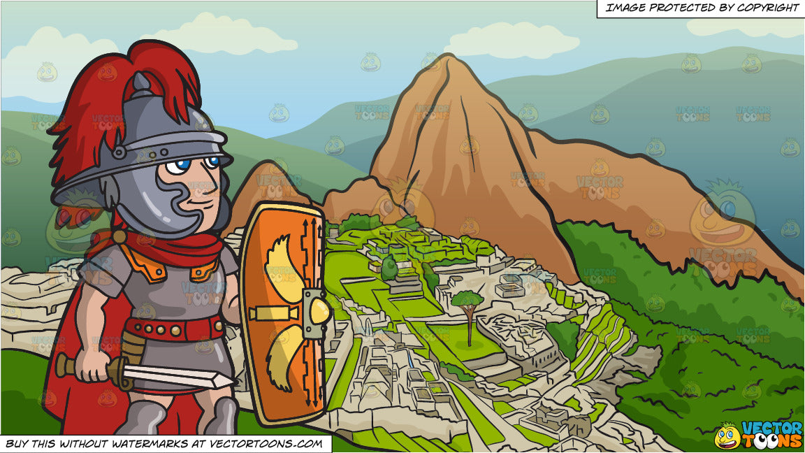 A Roman Centurion With His Shield And Machu Picchu