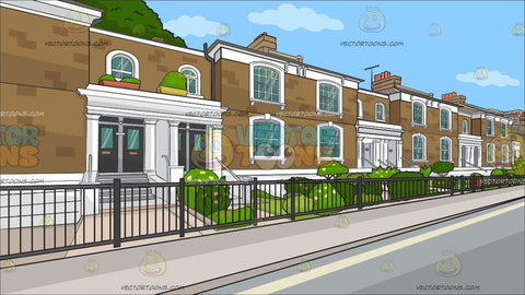 A Row Of Posh Brick Homes Background
