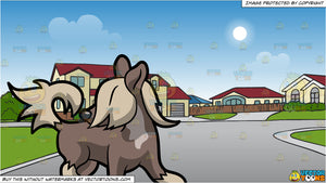 A Running Chinese Crested Dog and A Suburban Street Background