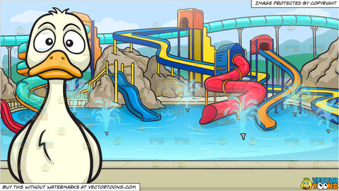 A Sad Duck and A Cool Water Park Background