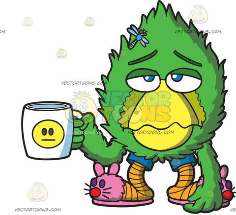A Sad Fur Ball Holding A Coffee Mug