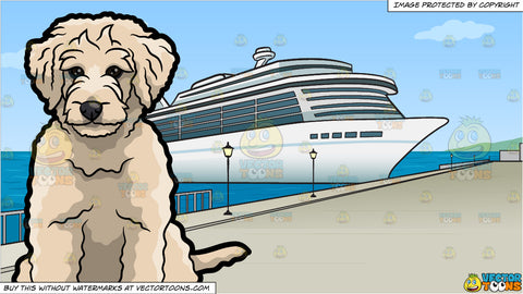 A Sad Golden Doodle Dog and Cruise Ship Port Background