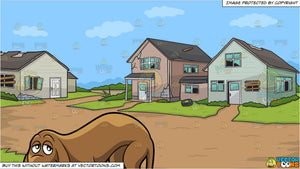 A Sad Hound Dog and Abandoned Houses Background