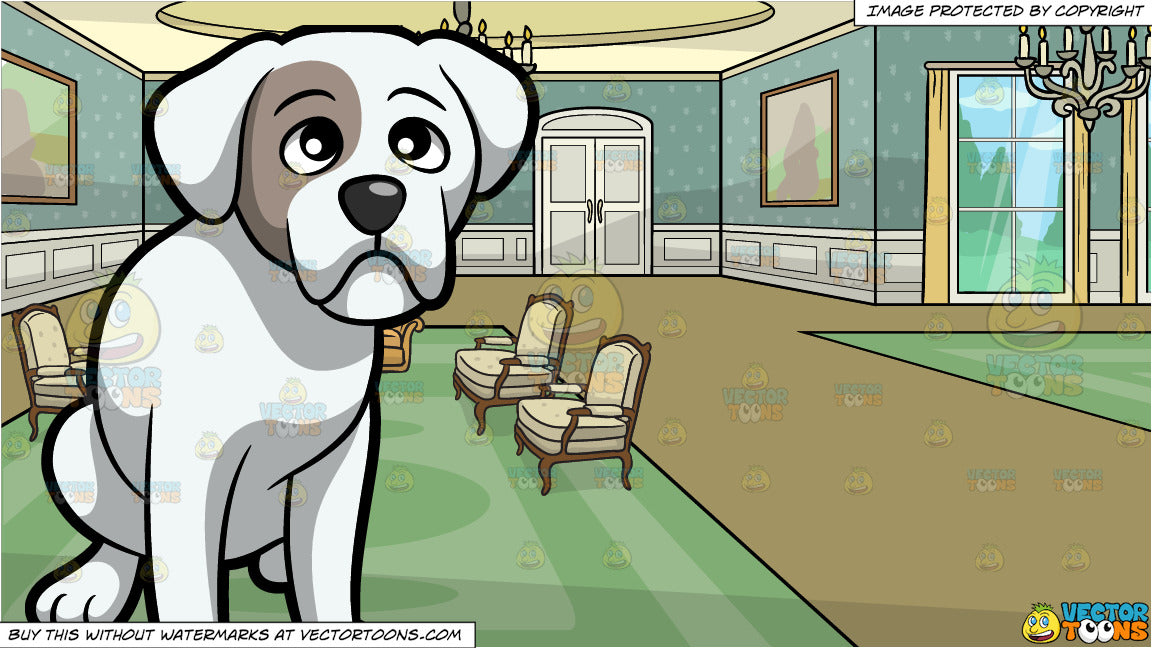 A Sad Looking Boxer Dog and A Castle Drawing Room Background