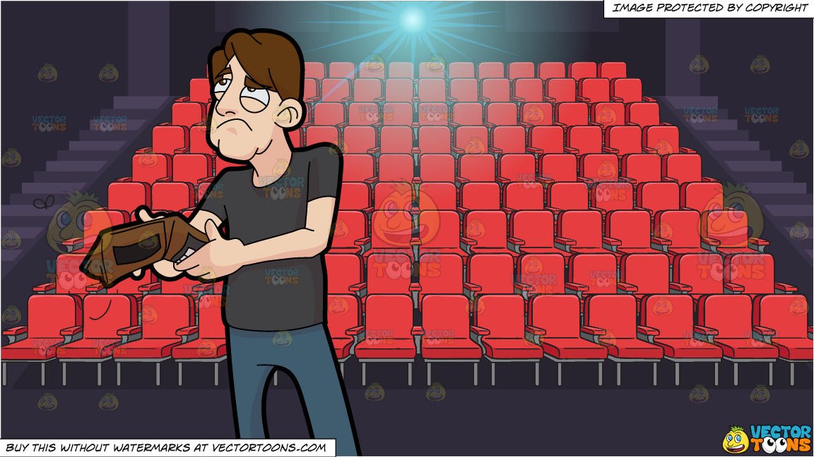 A Sad Man With An Empty Wallet And Movie Theater Seats Background Clipart Cartoons By Vectortoons