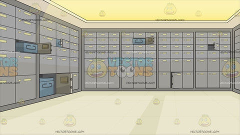A Safety Deposit Box Room Of A Bank Background