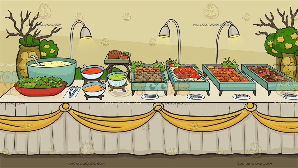 A Savory Food Buffet Table Background – Clipart Cartoons ...