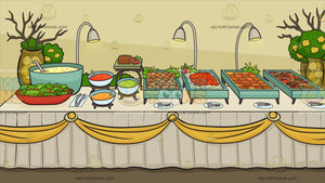 A Savory Food Buffet Table Background