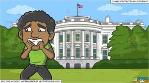 A Scared Black Man and White House South Lawn Background
