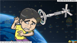 A Scared Man Kneeling Down To Protect Himself and Orbiting Space Station Background