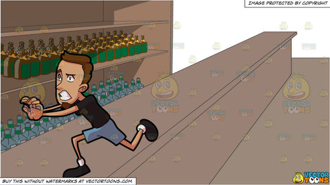 A Scared Man Running Away From Something and A Long Bar With Lots Of Alcohol Stocks