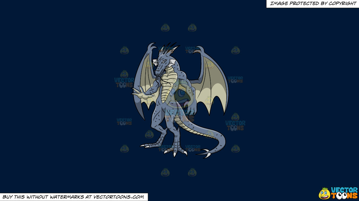 Clipart: A Scary Blue Dragon on a Solid Dark Blue 011936 Background