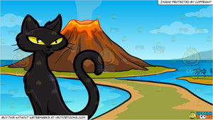 A Scary Thin Black Cat and A Volcano Island Background