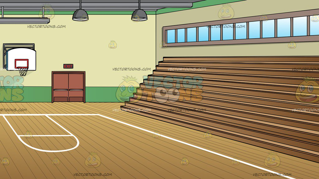 A School Gymnasium With Basketball Court And Bleachers