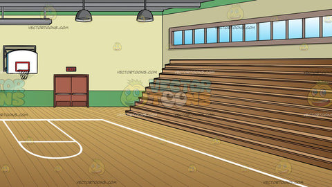 A School Gymnasium With Basketball Court And Bleachers Background