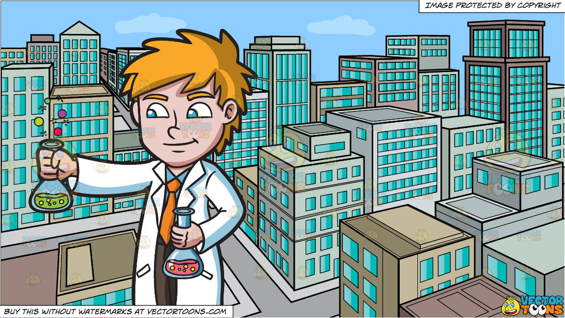 A Scientist Observing A Bubbly Chemical Reaction and A View Of The City  From A Top Of A Building During The Day Background