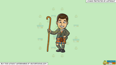 Cartoon clipart: a scottish man in kilt on a solid tea green c2eabd background