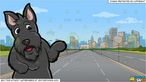 A Scottish Terrier Making A Point and A Highway Leading To The City Background